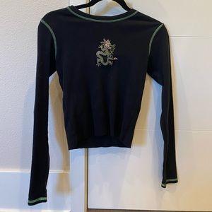 Brandy Melville Black Long Sleeve Dragon Embroider